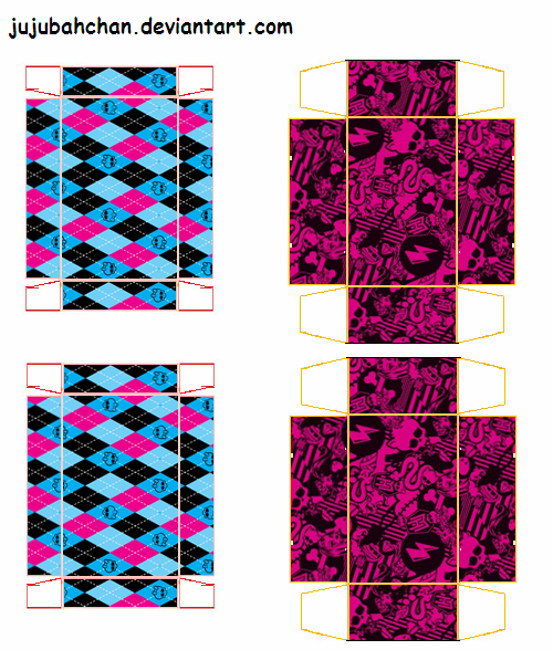 free monster high shoe box for dolls printable by jujubahchan
