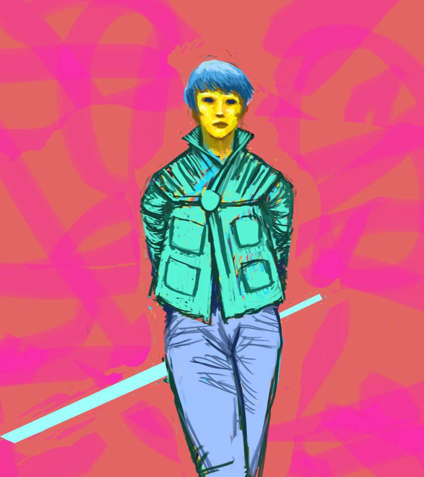 Neon Girl with Neon Sword
