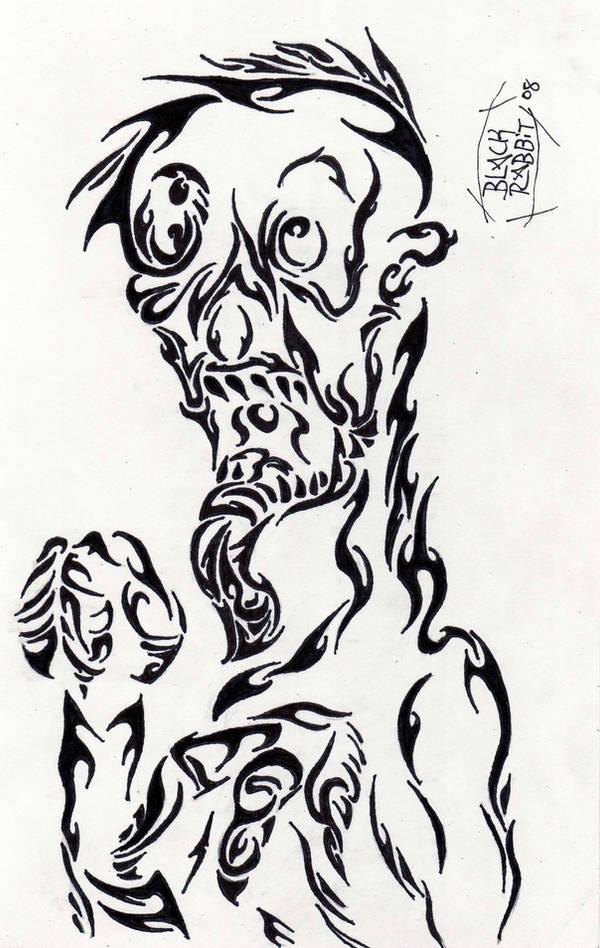 Ghoul in Tribal by Blackrabbit-98
