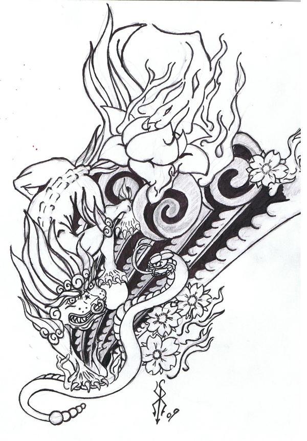 Foo Dog Tattoo Outline Designs