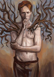 A man with tree branches.