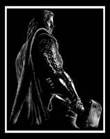 Thor and Mjolnir by NekoLynArt