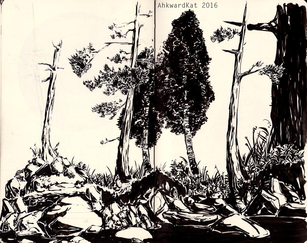 Trees Ink Sketch by Ahkward
