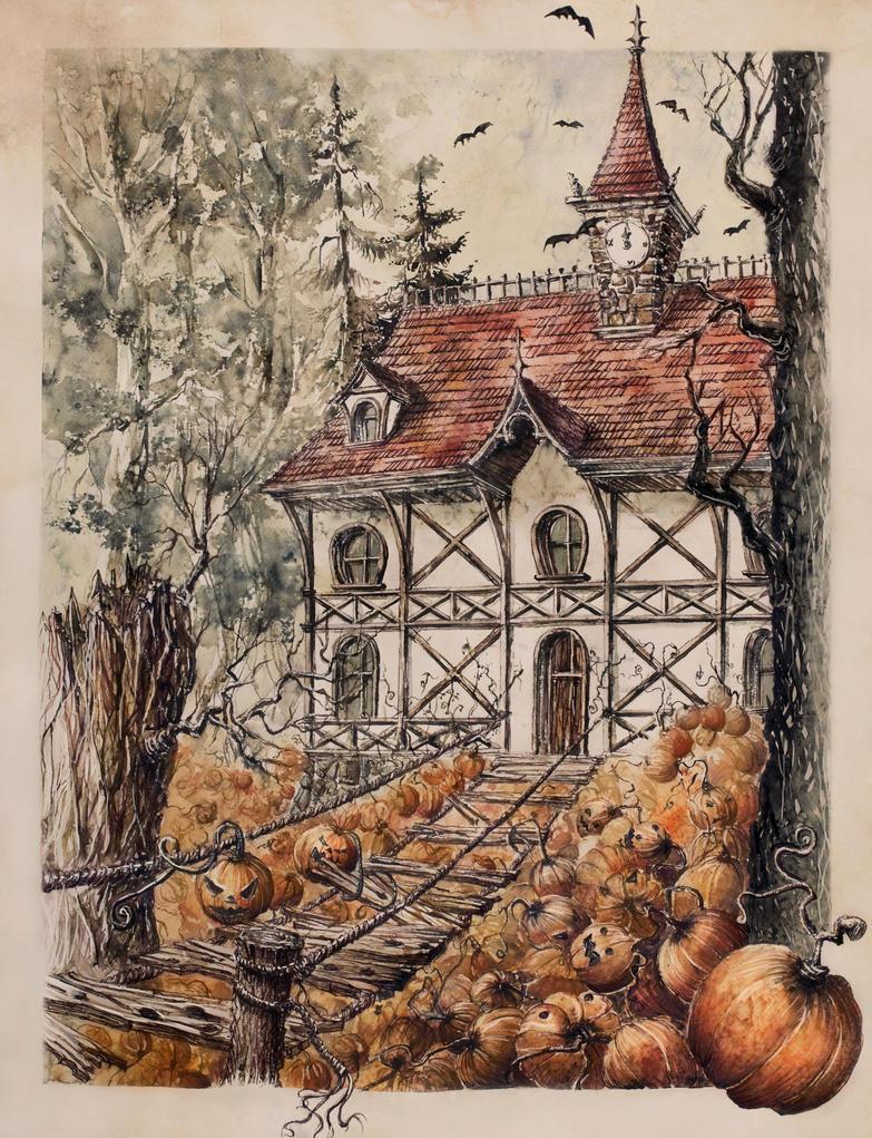 Halloween House by GrimDreamArt