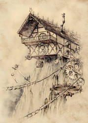 Steampunk House by GrimDreamArt