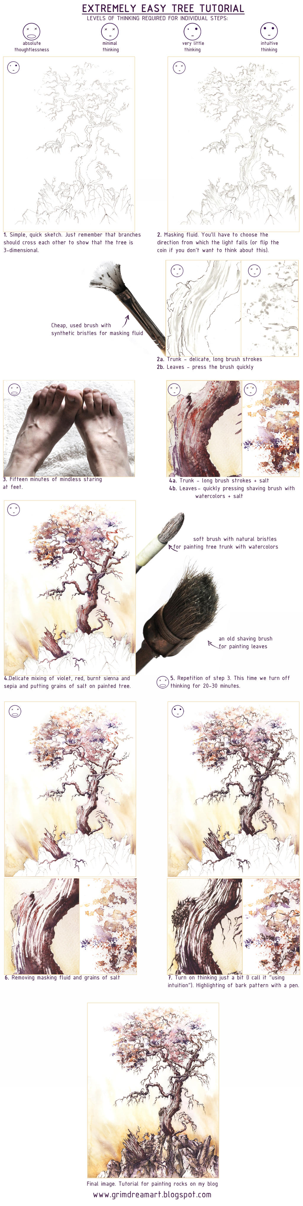 Extremely Easy Tree Tutorial by GrimDreamArt
