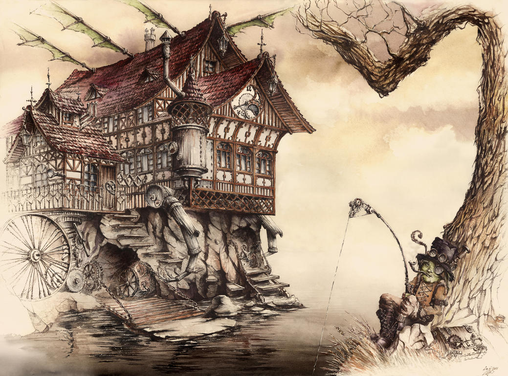 steampunk landscape by grimdreamart -#main