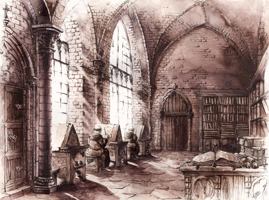 medieval cloister by grimdreamart on deviantart