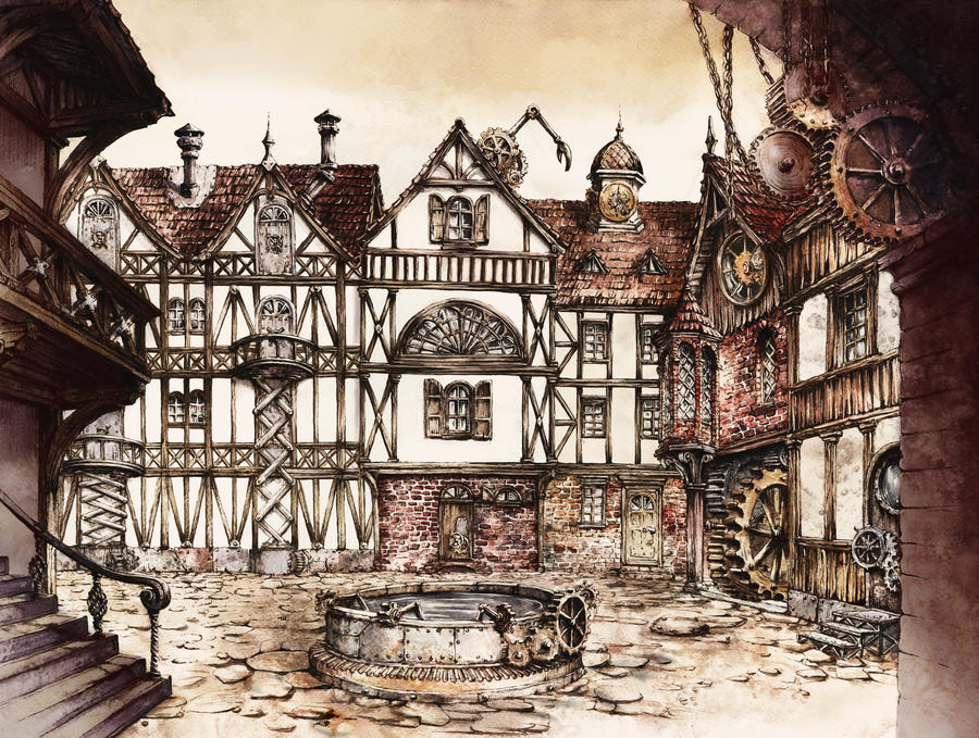 Steampunk Town Square by GrimDreamArt