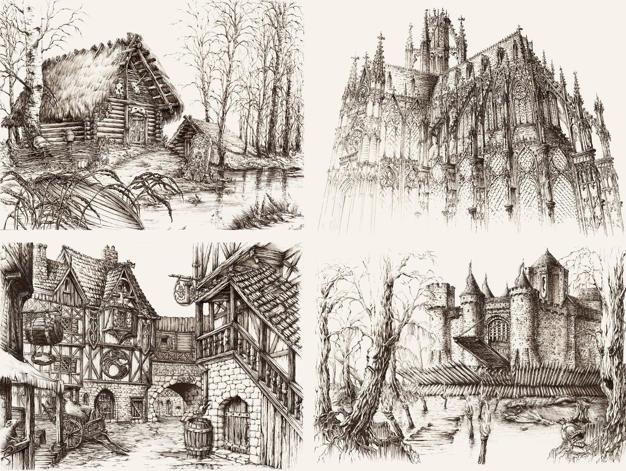 Fantasy Architecture by GrimDreamArt