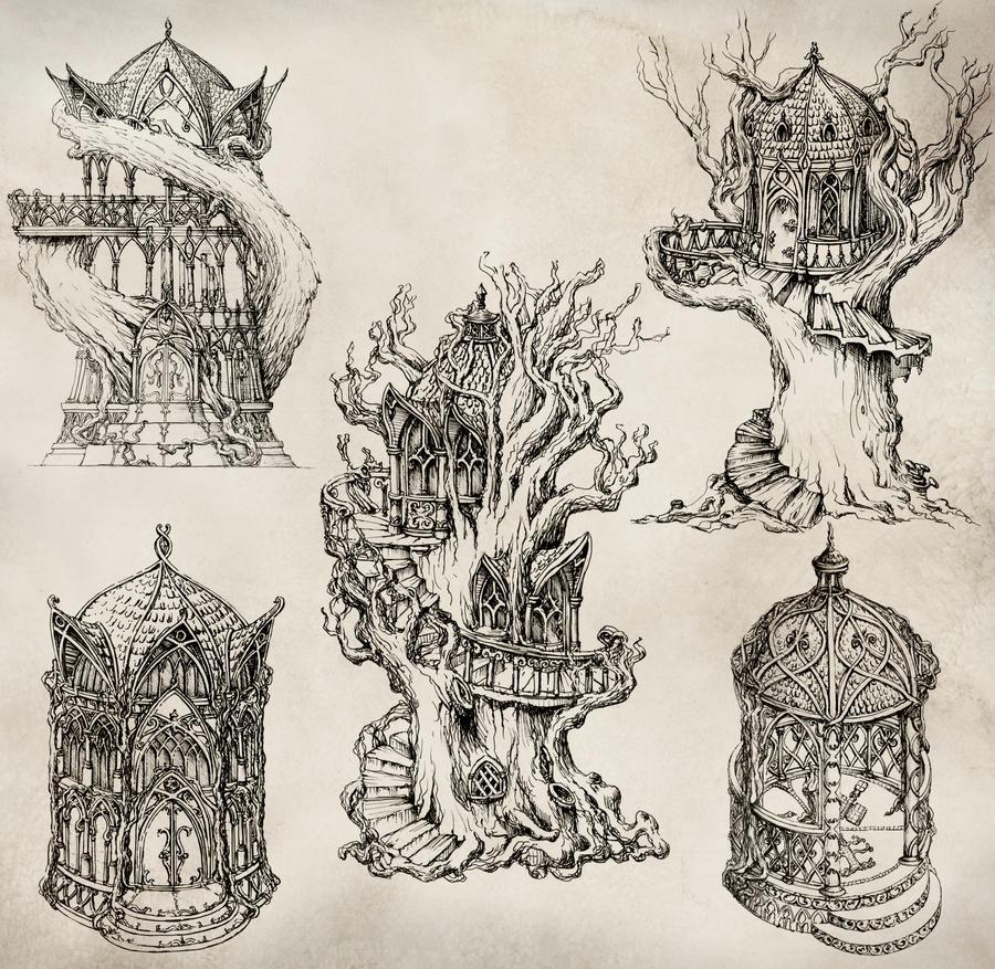 Elven Architecture by GrimDreamArt