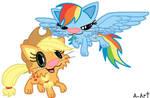 Applejack and Rainbow as cat