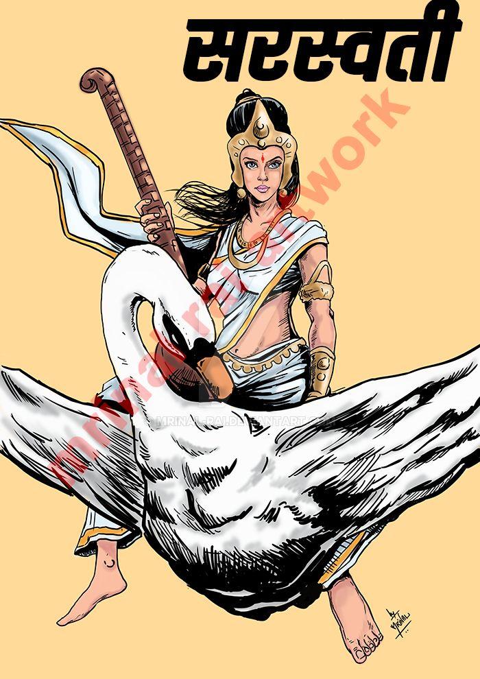 Saraswati the goddess of arts and knowledge by mrinal-rai