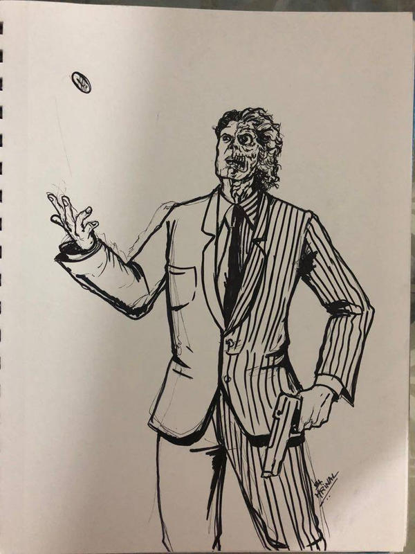 Two-Face drawn as part of daily sketch challenge by mrinal-rai