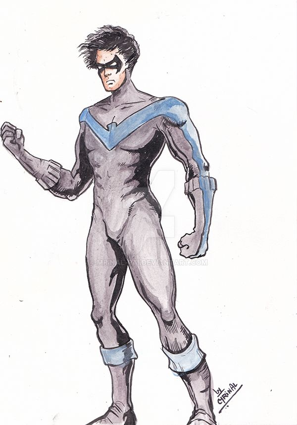 Nightwing drawn as part of daily sketch challenge by mrinal-rai