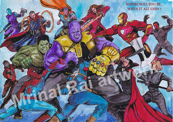 The Avengers vs Thanos - Infinity War by mrinal-rai