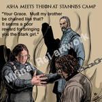 Asha (Yara) meets Theon/ Reek at Stannis's camp