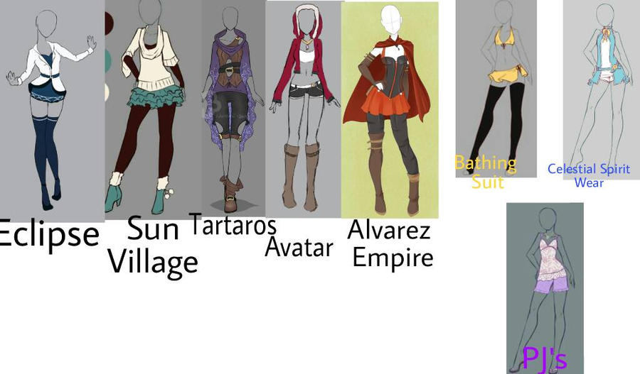 Fairy Tail Oc Outfits By Creepyhorrorgirl12 On Deviantart