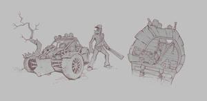 #0017 - Nomad and Ship by gregor-kari
