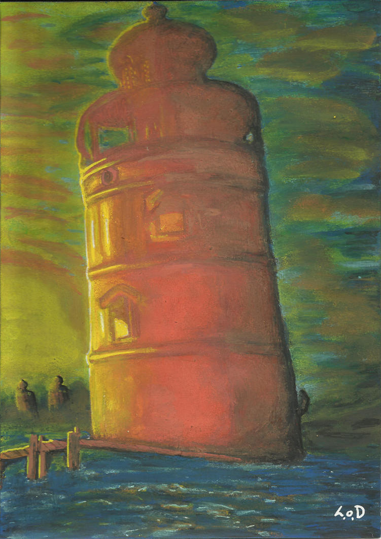 There is always a lighthouse... 14,5cm x 20,5cm by LinaOD