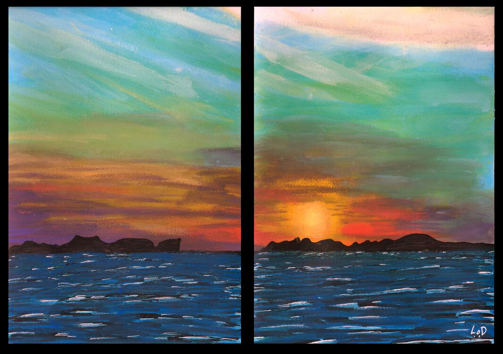 sky and sea 2 x 14,5cm x 20,5cm by LinaOD
