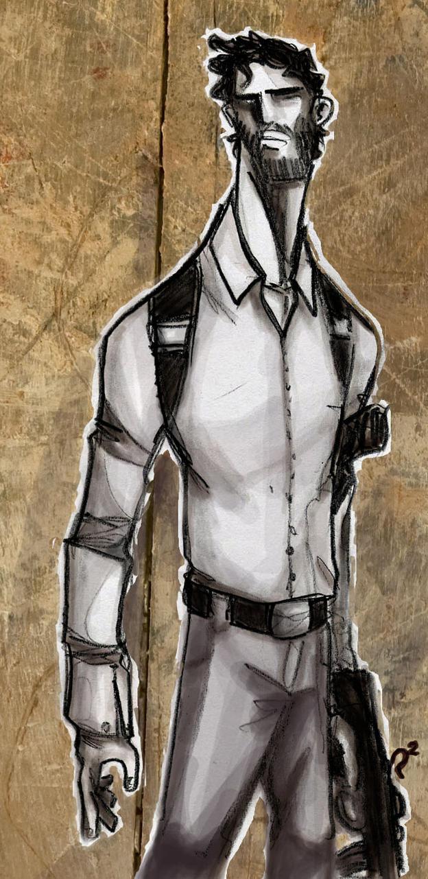 man with guns by lozart