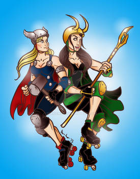 Thor and Loki Roller Derby
