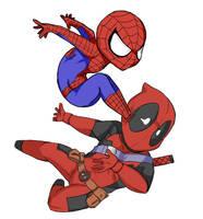 spiderman+deadpool by kanaha8823