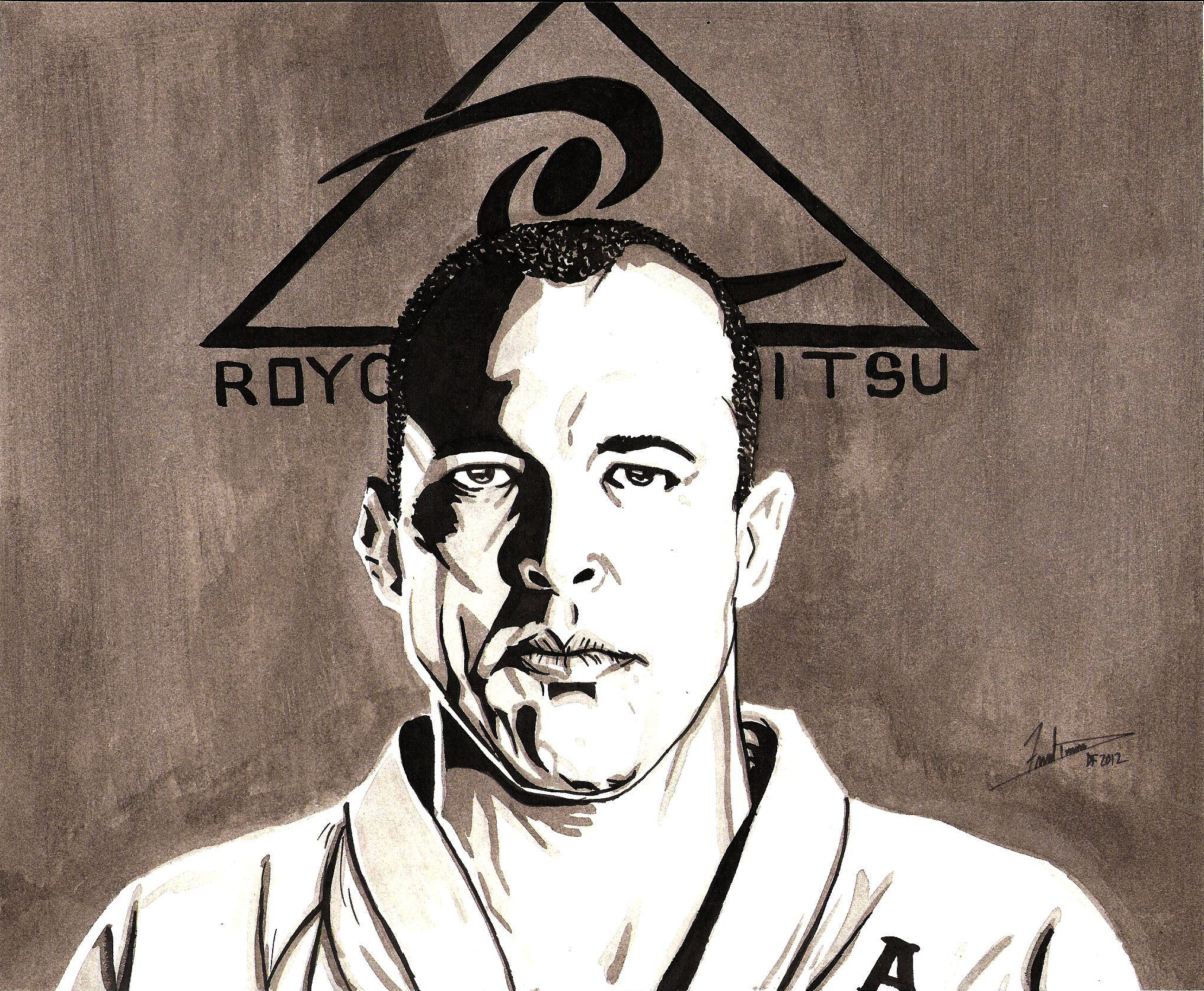 Ink Painting Royce Gracie By Dredfunn On Deviantart