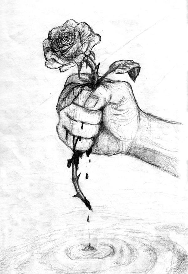 Broken Emo Hearts Drawings Rose By Bulhakov