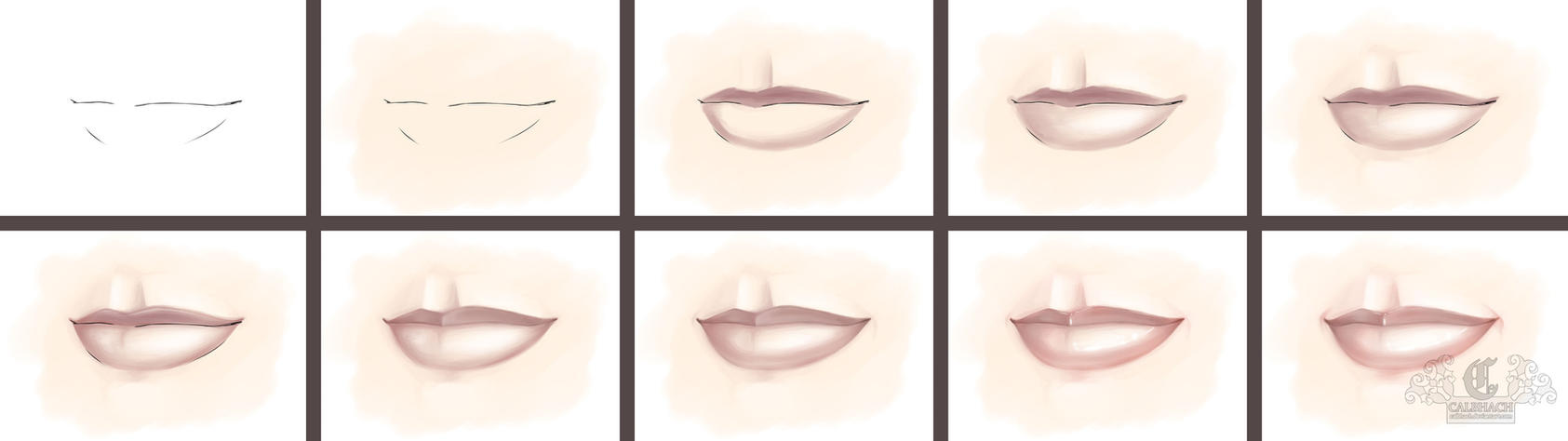 Lips Progression Tutorial by calbhach