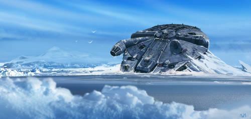 Frozen Millennium Falcon by norbface
