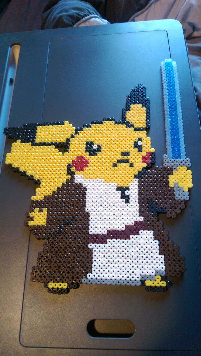 Jedi master pikachu star wars Pokemon mix  perler  by Nastiwolf