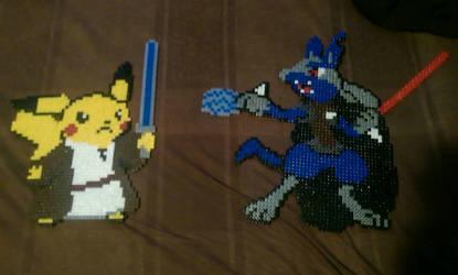 Jedi master pikachu vs sith lord lucario star wars