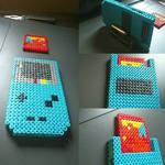 3D gameboy color with Pokemon red perler