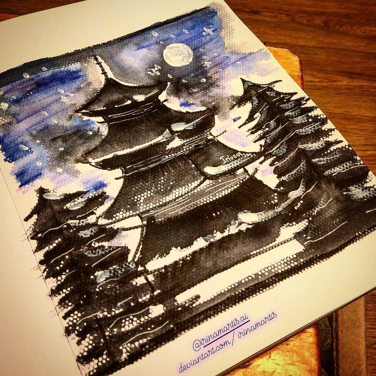 Starry Night Pagoda - original watercolour paintin