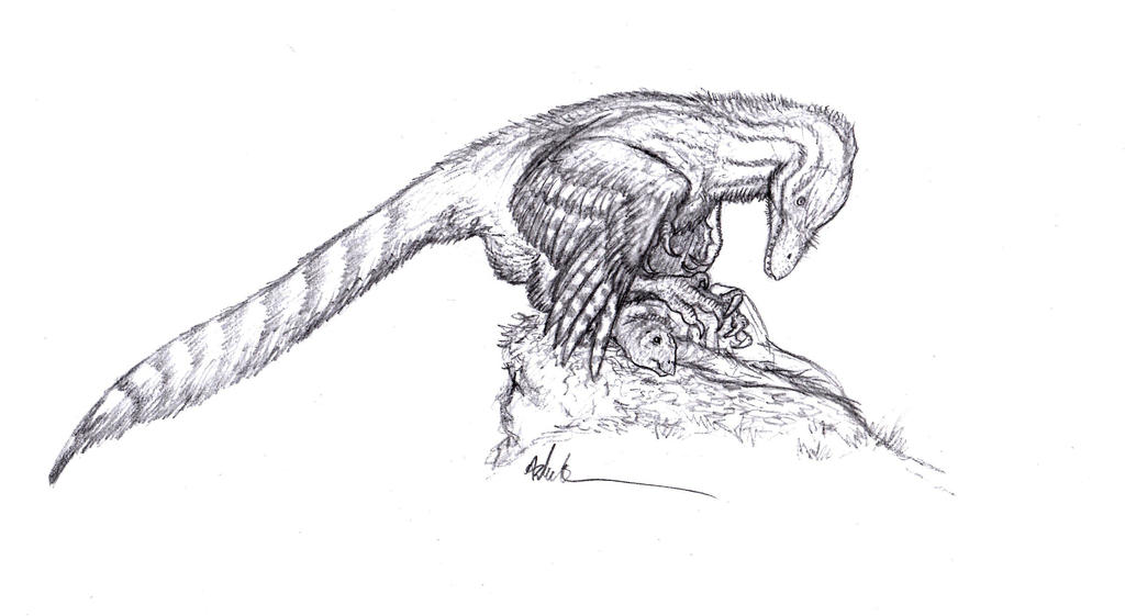 Mantling Dromaeosaur by Ashere