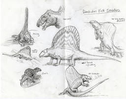 Field Sketches of Dimetrodon grandis by Ashere
