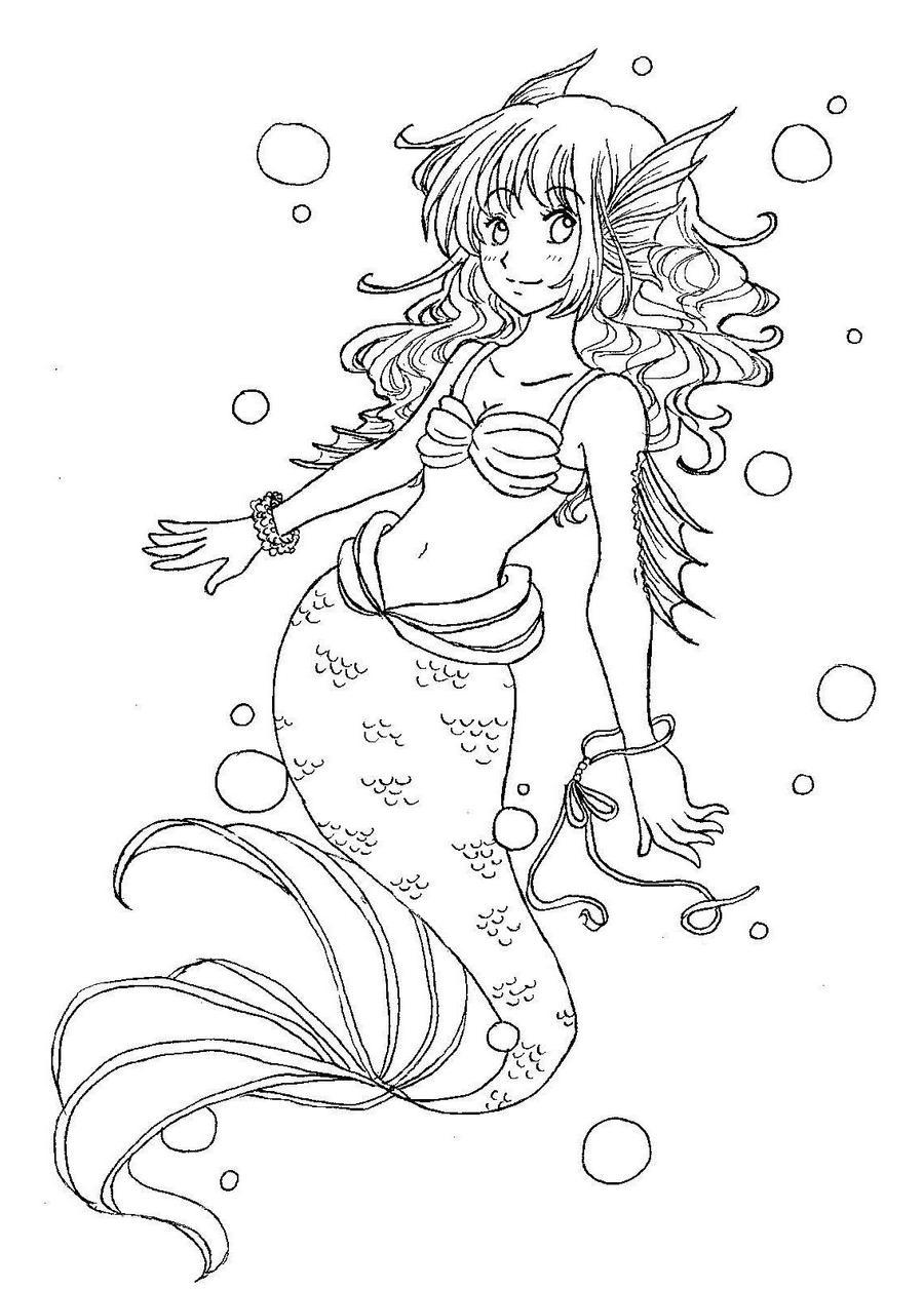 Line Art Mermaid : Mermaid line art by munmunchan on deviantart