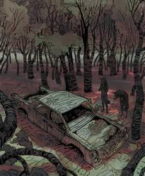 Werewolves Finding an Abandoned Car by Seyorrol