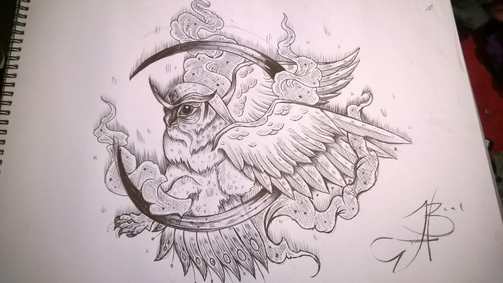 Owl Line Drawing Tattoo : Owl by helen beal on deviantart