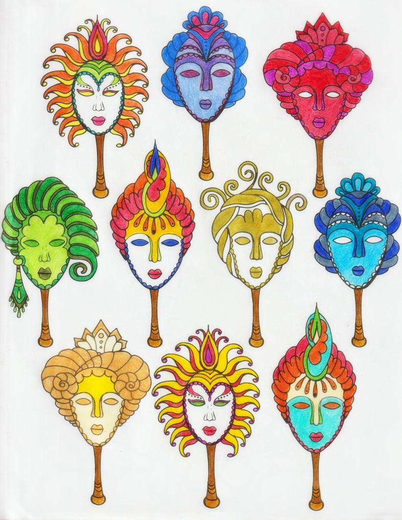 Masks ( Coloring Book #5 ) by epresvanilia