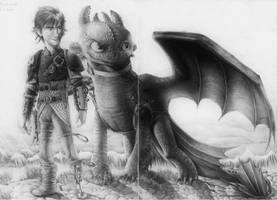 Hiccup and Toothless (HTTYD 2) Drawing by MonoFlax