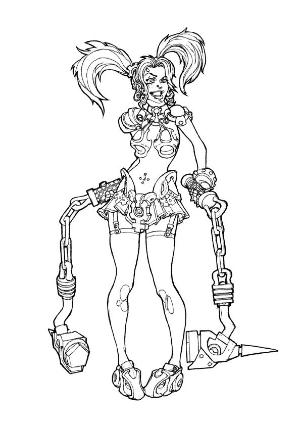 Line Art Girl : Psycho girl line art by killkennykat on deviantart