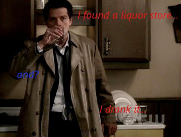SPN: Drunk Castiel by CastielxDean
