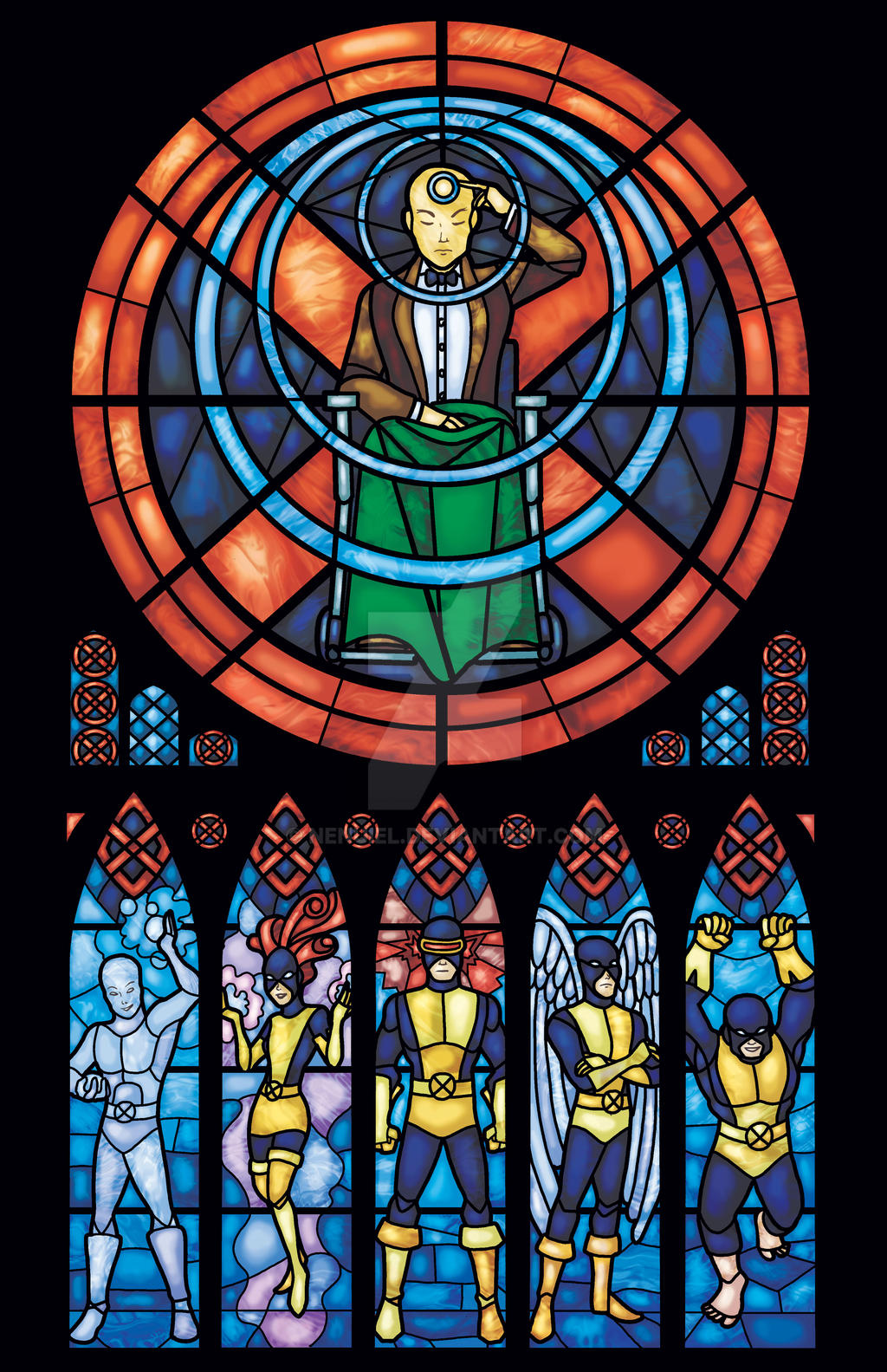 X-men Stained Glass: Original by nenuiel