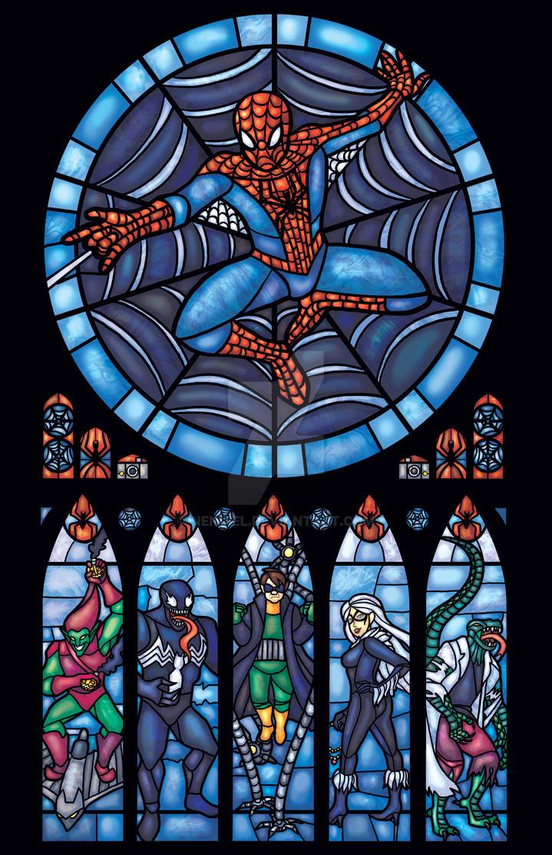 Spiderman Stained Glass Window by nenuiel