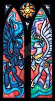 Stained Glass Princess Luna and Princess Celestia