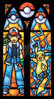 Pokemon Stained Glass Window with Ash and Pikachu