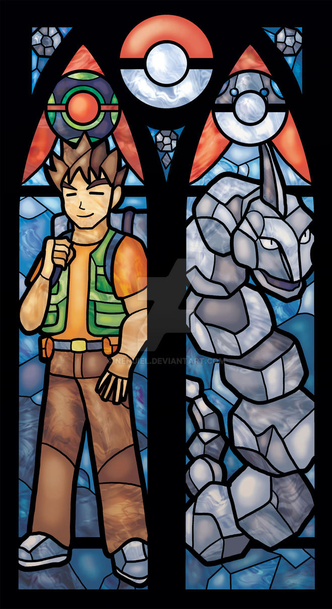 Brock and Onix Stained Glass Window Print by nenuiel